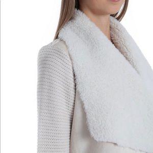 Faux-Shearling trim Knit Jacket , color black